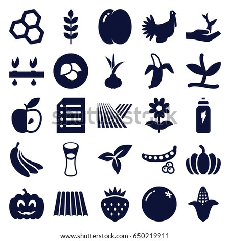 Organic icons set. set of 25 organic filled icons such as wheat, field, leaf, onion, orange, peach, peas, corn, milk glass, flower, strawberry, pumpkin, apple, banana, paper