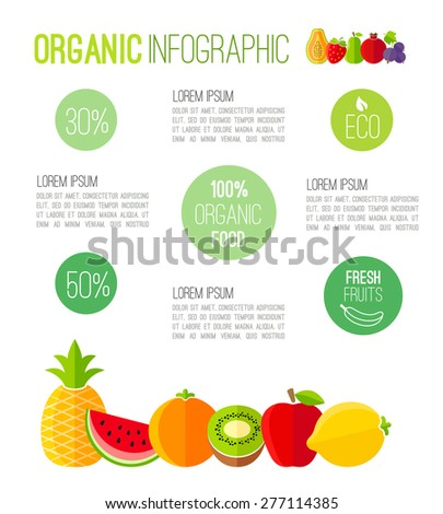Organic infographic fresh fruits illustration - stock vector