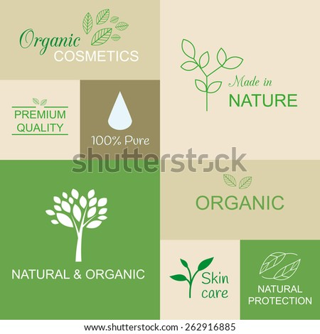 Organic logotypes and icons for products and cosmetics. Natural and organic set. - stock vector