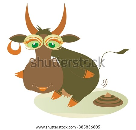 Organic manure. Smiling cow and a knot of manure  - stock vector