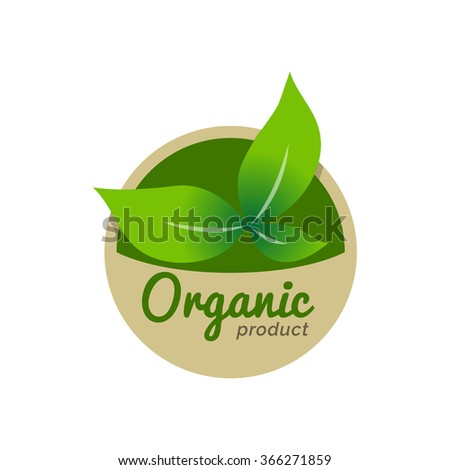Organic Natural Ecology logo icon Label, Isolated in White background