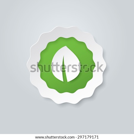 Organic paper label with green leaf, vector illustration - stock vector