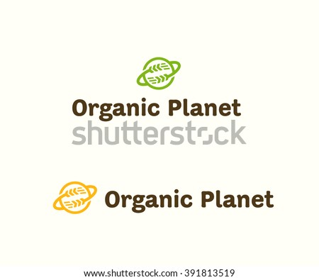Organic Planet Original Simple Minimal Graphic Symbol For Healthy Food Company, Grocery Shop, Fresh Meal Delivery Service, Nutrition Blog, Diet Specialist, Vegan Cafe etc Memorable Visual Metaphor - stock vector
