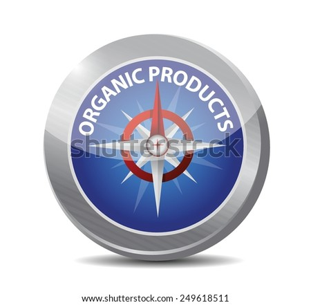 organic product compass illustration design over a white background - stock vector