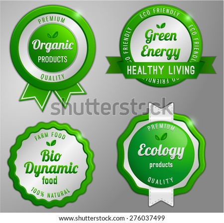 Organic product green badge collection - stock vector