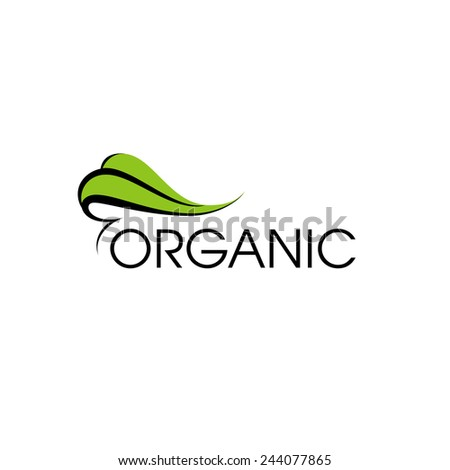 Organic product logo design vector template. Green leaf icon - stock vector