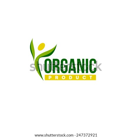 Organic product logo design vector template. Human abstract slim figure icon - stock vector