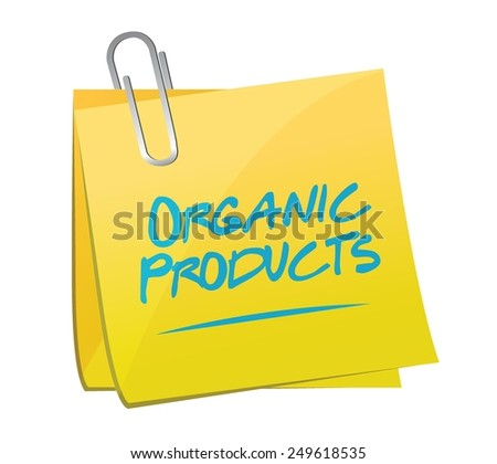 organic product memo sign illustration design over a white background - stock vector