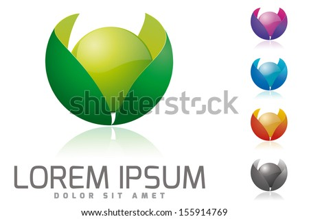 Organic products company vector logo design template. Glossy sphere surrounded by leaves vector illustration - stock vector