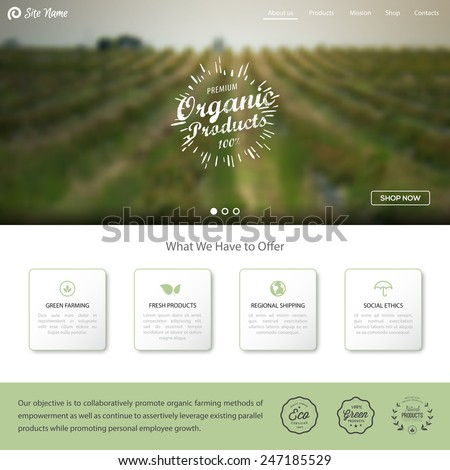 Organic products label. Green agricultural blurred background. One page Website template, web shop and other elements for your design. - stock vector