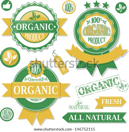 organic products labels and design elementsisolated on white background