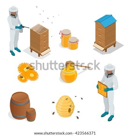 Organic raw honey set. Honeycomb, Apiary, beekeeper, honey ladle, honey bee, honey dipper, flowers, honey wax, honey beehive. Healthy food production. Flat 3d vector isometric illustration. - stock vector