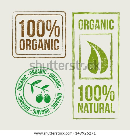organic seals over beige background vector illustration  - stock vector