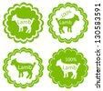 Organic sheep lamb meat food labels illustration collection - stock vector