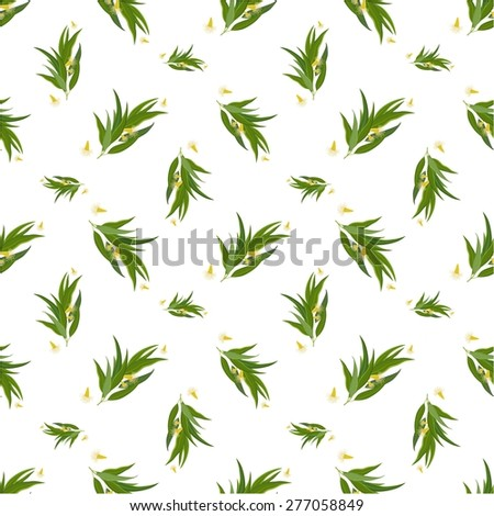 Organic vector seamless pattern with eucalyptus twig, flowers and leaves. Elegant background for website, packaging, digital scrapbooking, wallpapers, textile and wrapping paper. - stock vector