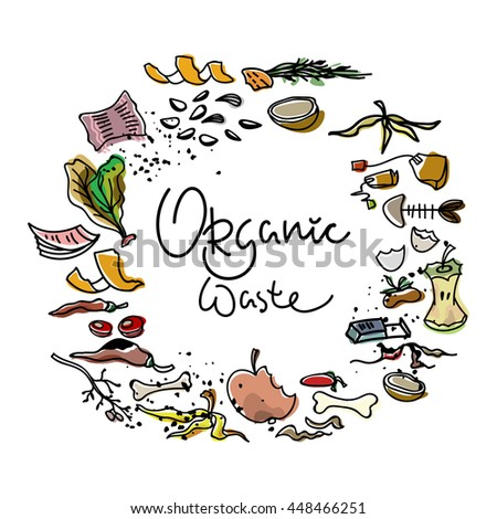 Organic waste colored elements on white background. Hand drawn elements with black contour isolated on white background. Bio-waste, nature conservancy. Garbage sorting. - stock vector