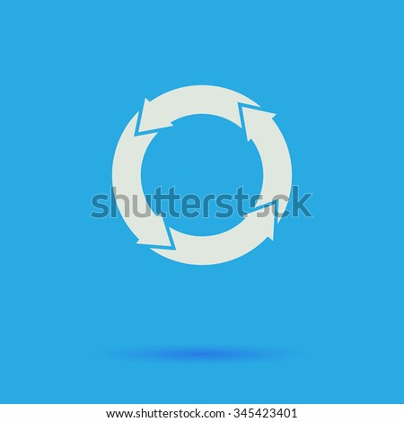 organic White flat vector simple icon on blue background with shadow