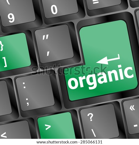 organic word on green and black keyboard button vector