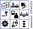 organization and business management icon set, vector - stock vector