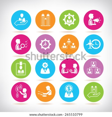 organization and business management icons set - stock vector