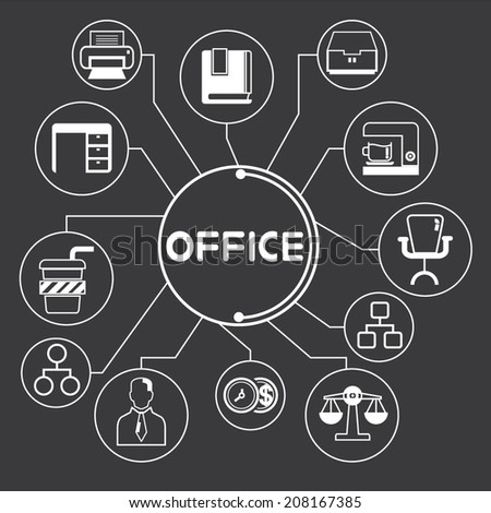organization and office supply info graphic in black background - stock vector