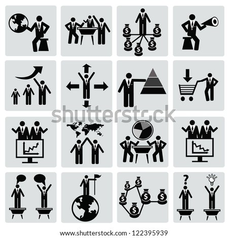Organization,Business management,Icon set,Vector - stock vector