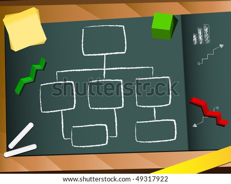 Organization chart blackboard and chalk background. Editable Vector Image - stock vector