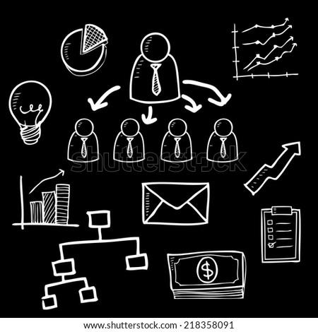 Organization chart doodle cartoon vector - stock vector
