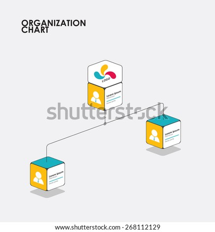 Organization chart infographics with tree, Diagram flow.  vector illustration. - stock vector