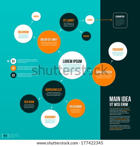 Organization chart template on turquoise background. EPS10. - stock vector