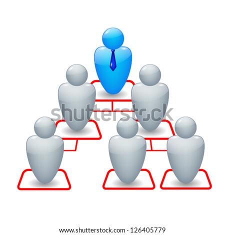 Organization chart with icons of people - stock vector