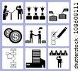 organization development and business management icon set, vector - stock vector