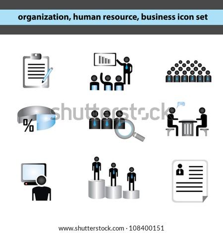 organization, human resource, business management icon set - stock vector