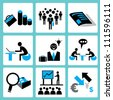 organization management and business icon set - stock vector