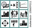 organization management and human resource management icon set - stock photo