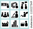 organization management, business, company icon set - stock photo