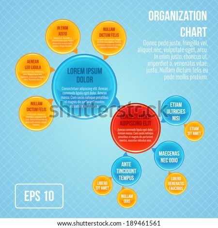 Organizational chart infographic business bubbles circle work structure vector illustration - stock vector