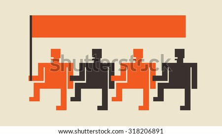 organized team following the leader waiving flag add your text over the flag as needed - stock vector