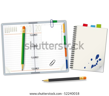 Organizer and notebook - stock vector