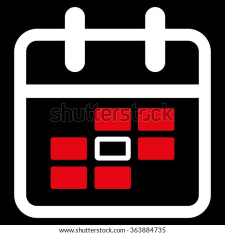 Organizer Date vector icon. Style is bicolor flat symbol, red and white colors, rounded angles, black background.