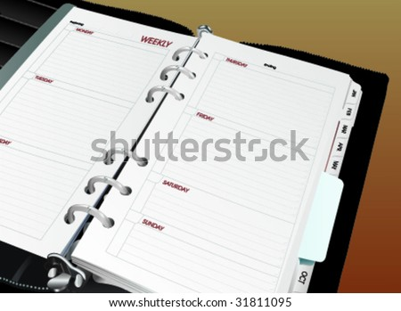 Organizer Day Book - Vector Illustration - stock vector