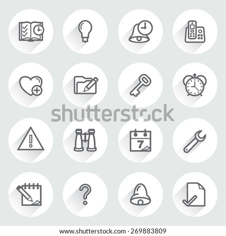 Organizer flat contour icons on gray background. - stock vector