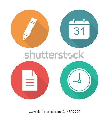 Organizer flat design icons set. Time management white silhouette long shadow symbols. Day planning business application. Work organiser interface color pictograms Vector infographic isolated elements - stock vector