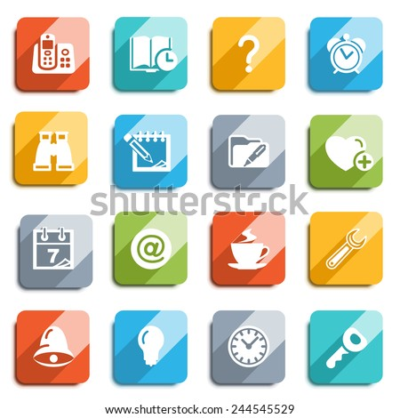 Organizer flat icons with color buttons. - stock vector