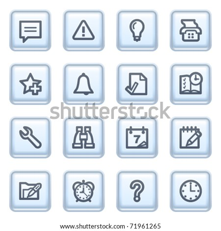 Organizer icons on blue buttons. - stock vector