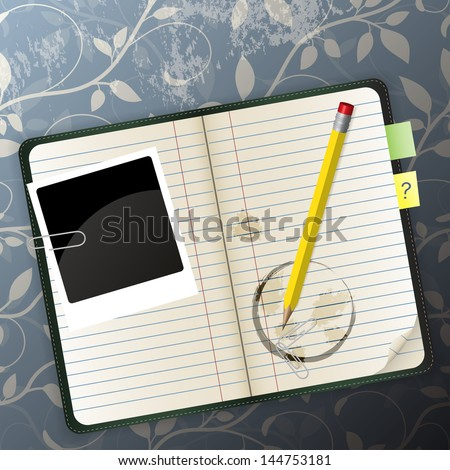 organizer on a pattern background can be used for website decoration, icon or holiday design - stock vector