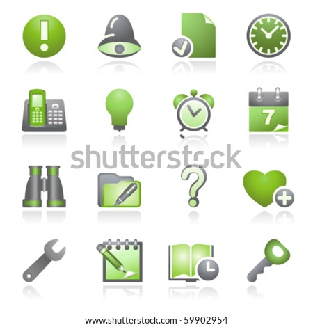 Organizer web icons. Gray and green series. - stock vector