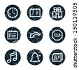 Organizer web icons, grunge circle buttons - stock vector