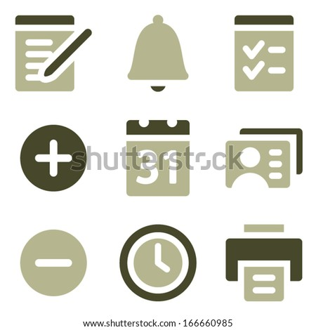 Organizer web icons, olive set - stock vector