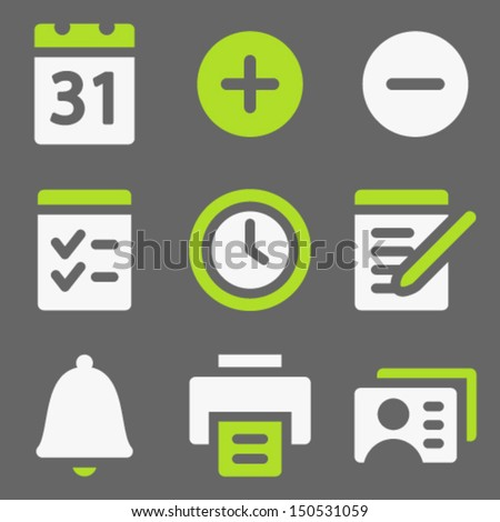 Organizer web icons, white and green on grey - stock vector
